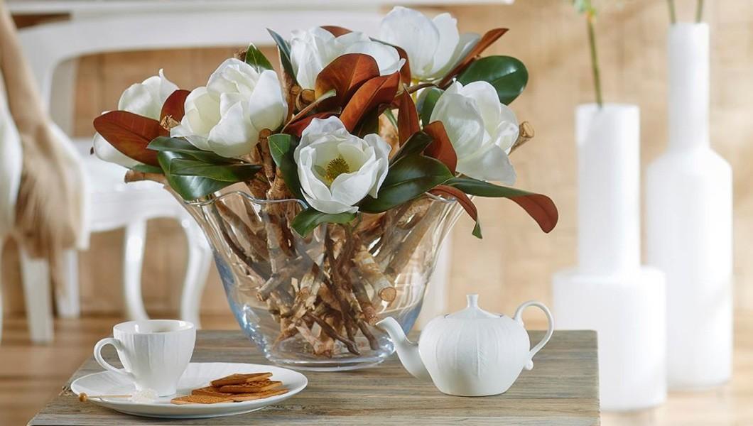 Papaveri e Papere - Fiori di seta, magnolia e rami